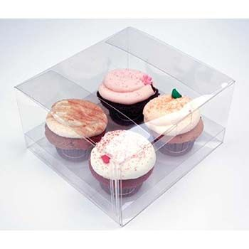 Clear Four Cupcake Box with Insert