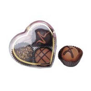 Clear heart box w/gold trim