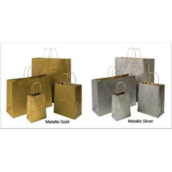 Metallic Colored Shopping Bag on Kraft