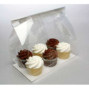 Clear Cupcake Bag for Six Mini Cupcakes