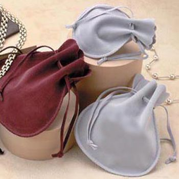 Double Faced Simulated Suede Drawstring Bags