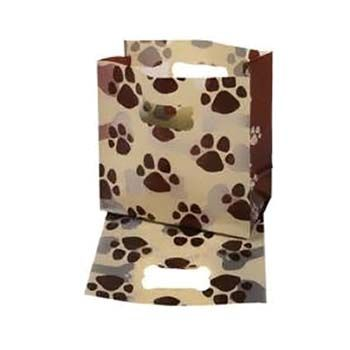 Frosty Paw Print Flat Bottom Die Cut Handle Frosted Bag