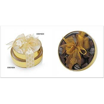 Gold Round Boxes with Clear Top