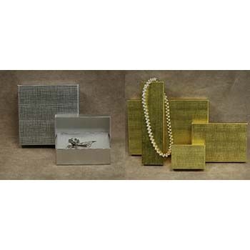 Gold and Silver Linen Foil Jewelry Boxes