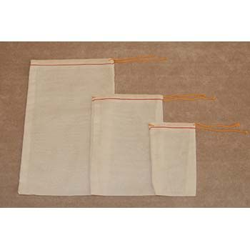White Mill Cloth Bags with Drawstrings