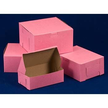 Pink Bakery Box lock corner - One-Piece