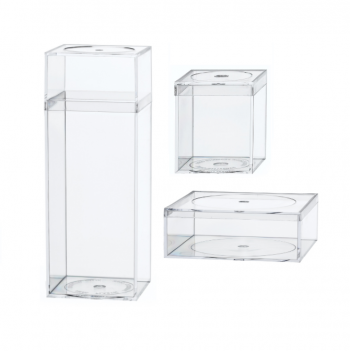 Rigid Clear Hard Plastic Containers with Friction Fit