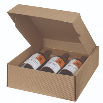 Three Bottle Wine Box in Textured Rib Inserts Included