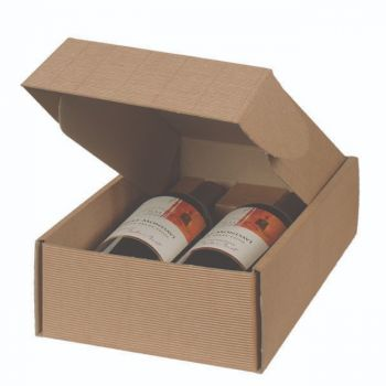 Two Bottle Wine Box in Textured Rib Inserts Included