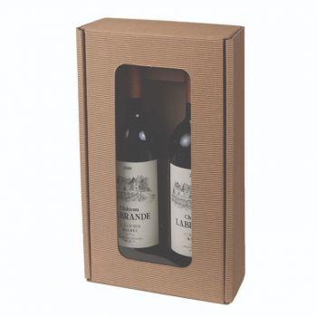 Two Bottle Wine Box w/ Window in Textured Rib w/ Dividers