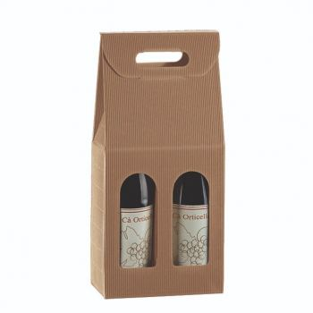 Two Bottle Wine Carrier in Textured Rib