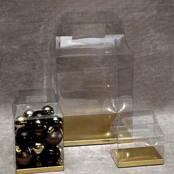 Clear Box with Gold/Silver Bottom with Handle