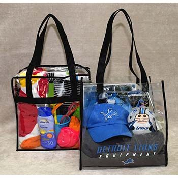 Vinyl Tote Bag - No Zipper - Black Handles and Trim