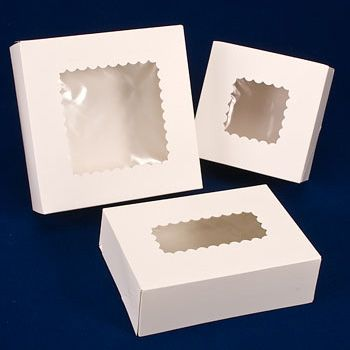 White Bakery Box glued corner/lock corner with Window - One-Piece