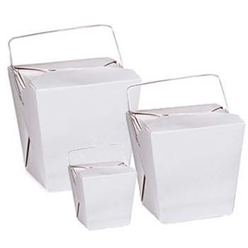 Chinese Take-out Containers - White w/Handle
