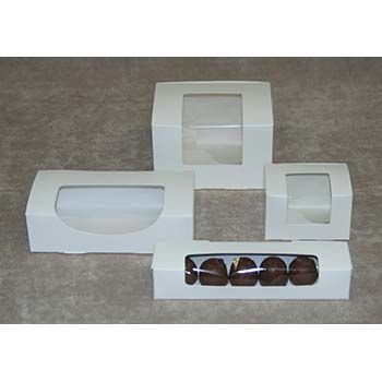 White Candy Boxes with Window - One-Piece