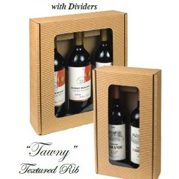 Two Bottle Wine Box w/ Window in Textured Rib w/ Dividers